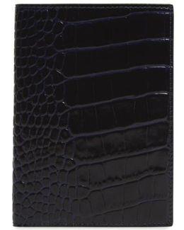 Mara Croc Embossed Leather Passport Case