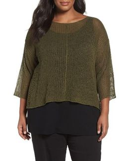 Organic Linen Mesh Knit Top