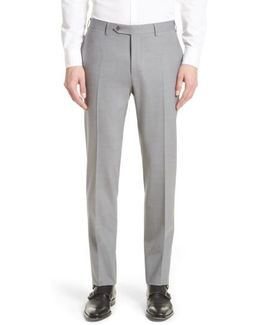 Flat Front Solid Stretch Wool Trousers