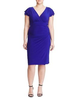 Flutter Sleeve Jersey Sheath Dress