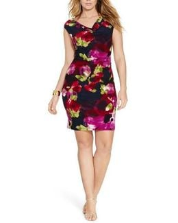Floral Print Jersey Sheath Dress