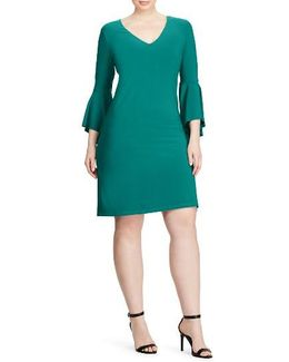 Flounce Sleeve Jersey Dress