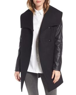 Faux Leather Sleeve Wool Blend Coat