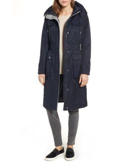 Cotton Blend Long Utility Trench Coat