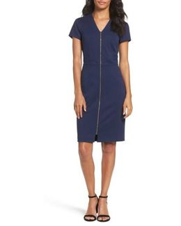 Zip Front Sheath Dress