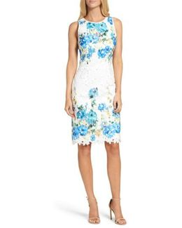 Print Lace Sheath Dress