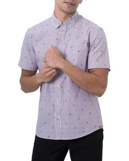 Young Galaxy Embroidered Stripe Woven Shirt