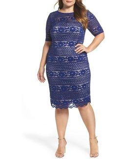 Illusion Sleeve Lace Sheath Dress