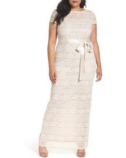 Illusion Lace Column Gown