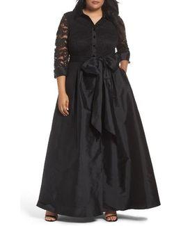 Illusion Lace & Taffeta Gown