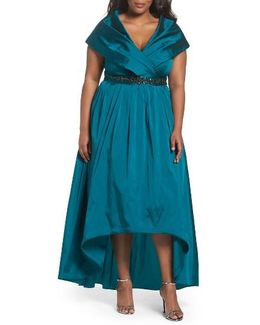 Embellished Portrait Collar Taffeta Gown