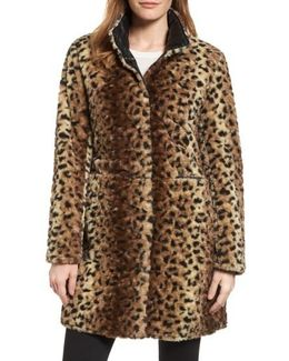 Reversible Faux Leopard Fur Coat