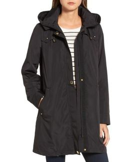 Hooded Packable Utility Coat, Black