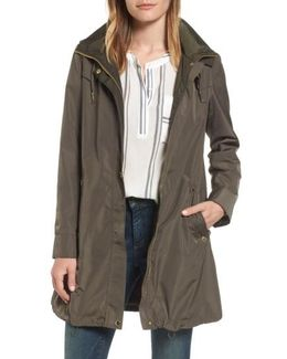 Hooded Packable Utility Coat, Grey