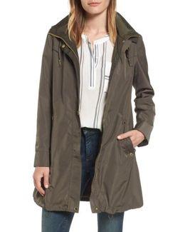 Hooded Packable Utility Coat, Grey