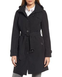 Packable Trench Coat With Hood, Black