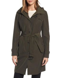 Packable Trench Coat With Hood, Green