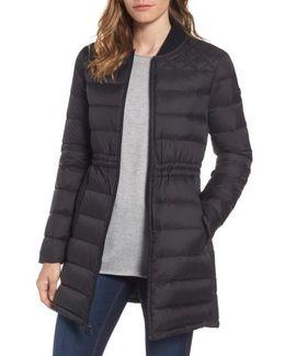 Packable Knit Trim Anorak, Black