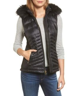 Faux Fur Trim Down Vest