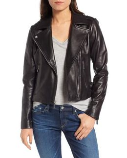 Buckle Detail Leather Moto Jacket