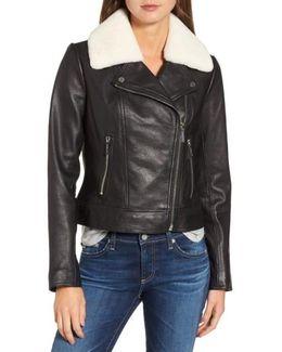 Genuine Shearling Moto Jacket