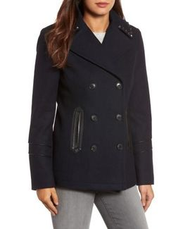 Faux Leather Trim Wool Blend Peacoat