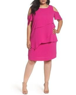 Asymmetrical Tier Cold Shoulder Shift Dress