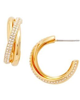 Trinity Pave Hoop Earrings