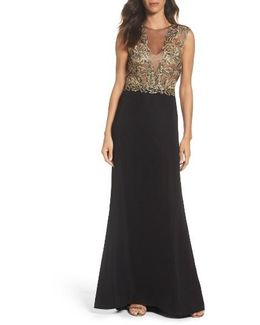 Embroidered Mesh & Crepe Gown