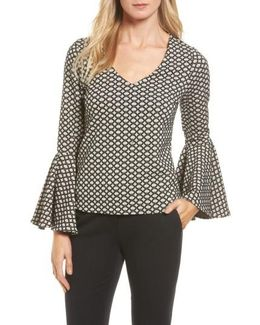 Jacquard Knit Bell Sleeve Top