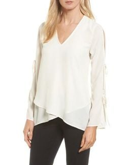 Tie Sleeve Faux Wrap Top