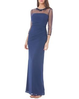 Embellished Illusion Shirred Jersey Gown