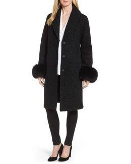 Grace Genuine Fox Fur Trim Knit Wool Blend Long Coat