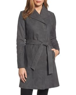 Jacqueline Belted Leather Trench Coat
