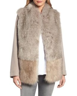 Maddie Wool Blend Sleeve Faux Fur Jacket