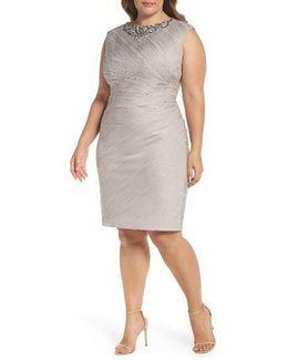 Embellished Neckline Sheath Dress