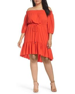 Off The Shoulder Crepe Dress