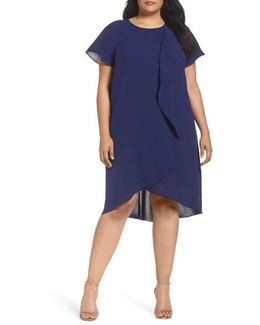 Crepe Ruffle Drape Shift Dress