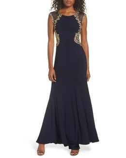 Embellished Jersey Gown
