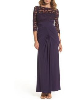 Lace & Draped Jersey Gown
