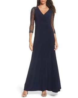 Sequin Jersey Gown