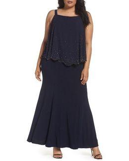 Embellished Overlay Off The Shoulder Gown