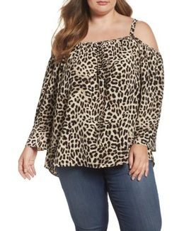 Leopard Song Cold Shoulder Blouse