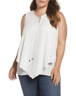 Lace-up Crepe Handkerchief Top