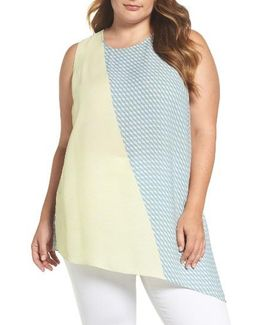 Modern Slant Colorblock Asymmetrical Top