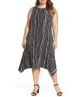 Electric Lines Shark Bite Hem Dress