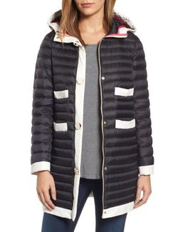 Contrast Trim Hooded Puffer Coat