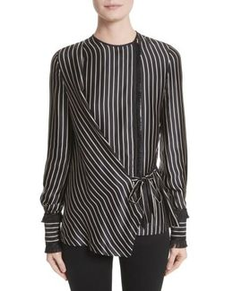 Fringe Trim Stripe Silk Wrap Blouse