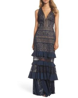 V-neck Tiered Gown