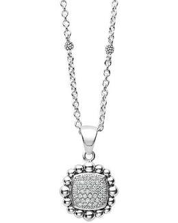 Caviar Spark Square Diamond Pendant Necklace